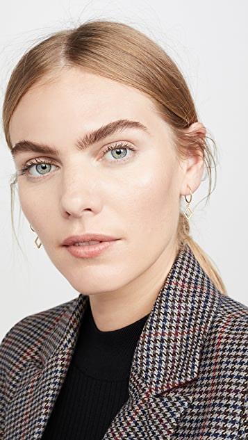 Madewell Glass-Inlaid Diamond Charm Mini Hoop Earrings