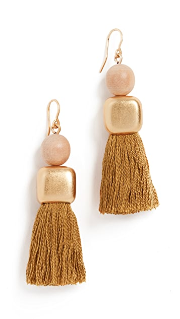 Madewell Wood Bead And Tassel Earrings