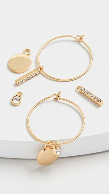 Madewell Basic Charm Hoop Pack Set