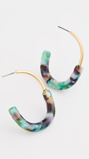Madewell 金属和醋酸纤维塑料圈式耳环