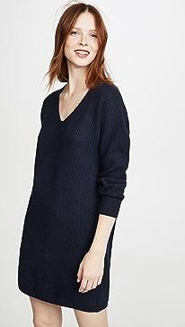 V Neck Mini Sweater Dress