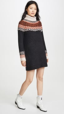 Fair Isle Turtleneck Sweater Dress