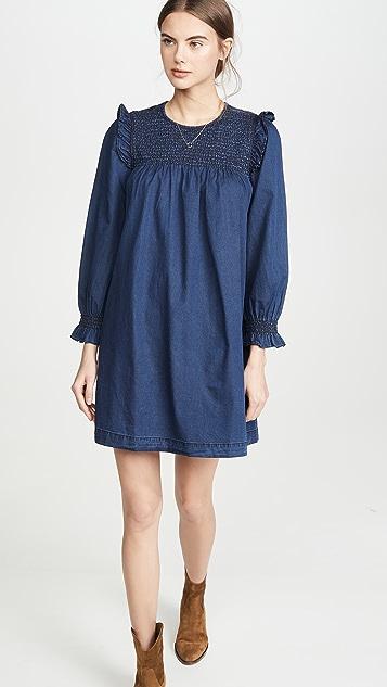Madewell 靛蓝色荷叶边领口抽褶娃娃装连衣裙