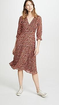 Long Sleeve Crossover Midi Dress