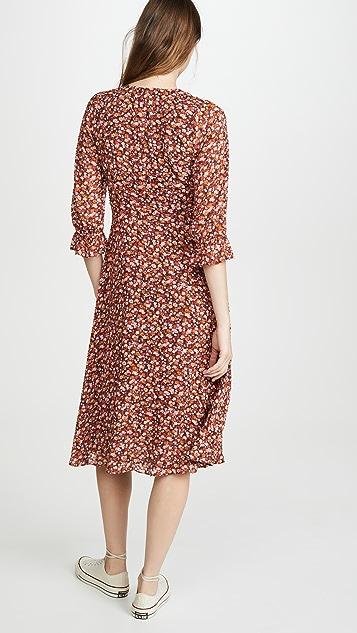 Madewell Long Sleeve Crossover Midi Dress