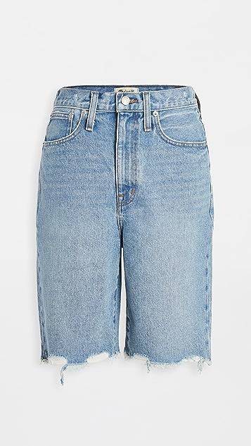 Madewell 高腰中长牛仔短裤