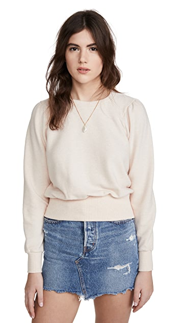 Madewell Heathered Puff Sleeve Raglan Sweatshirt