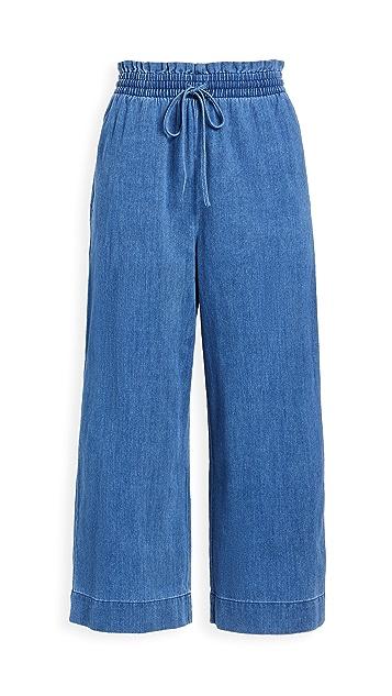 Madewell Chambray Smocked Huston Pants