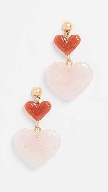 Madewell Double Drop Moulded Heart Earrings