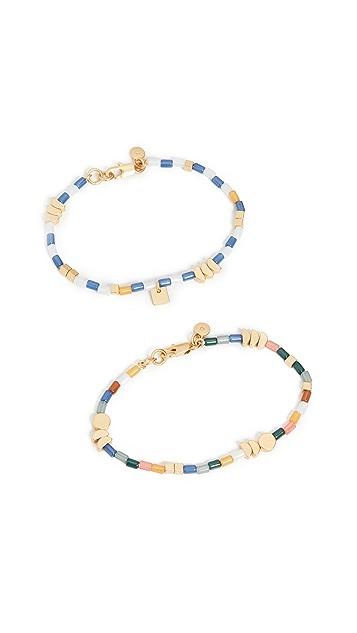 Madewell 2 Piece Beaded Stretch Bracelet Set