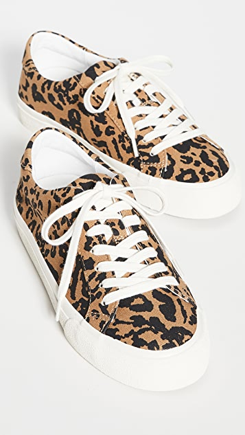 Madewell Sidewalk Low Top Sneakers in Leopard Print Recycled Canvas
