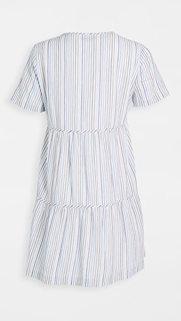 Madewell Striped Crew Neck Button Front Tiered Mini Dress