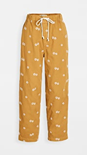 Madewell Drawstring Classic Straight Pants: Daisy Embroidered Edition