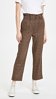 Madewell Plaid Paperbag Tapered Pants