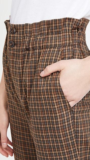 Madewell 格子纸袋锥形长裤