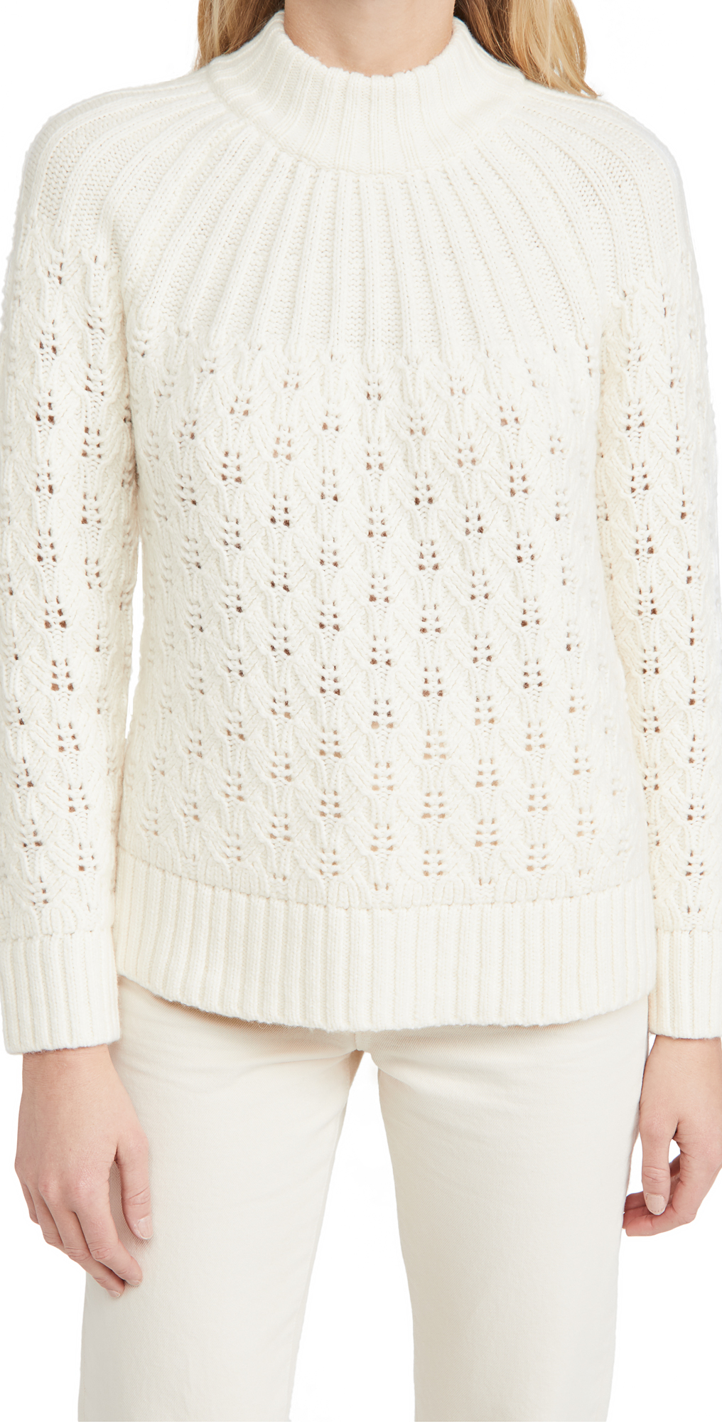 Madewell Pointelle Stitch Mix Mock Neck Sweater