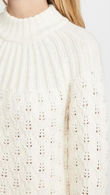 Madewell Pointelle Stitch Mix Mock Neck Sweater