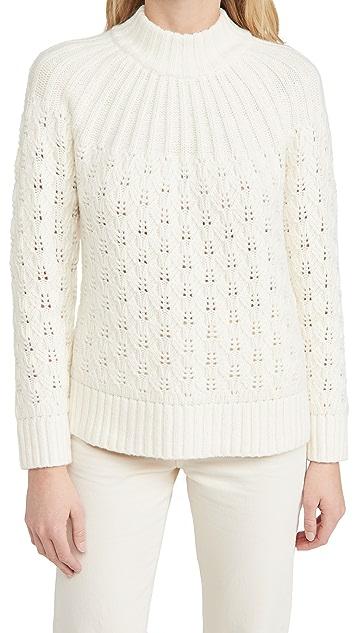 Madewell 网眼织物混合缝线半高领毛衣
