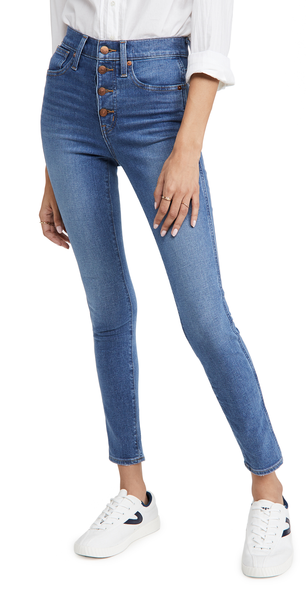 "Madewell 10"" High Rise Skinny Button Front Jeans"