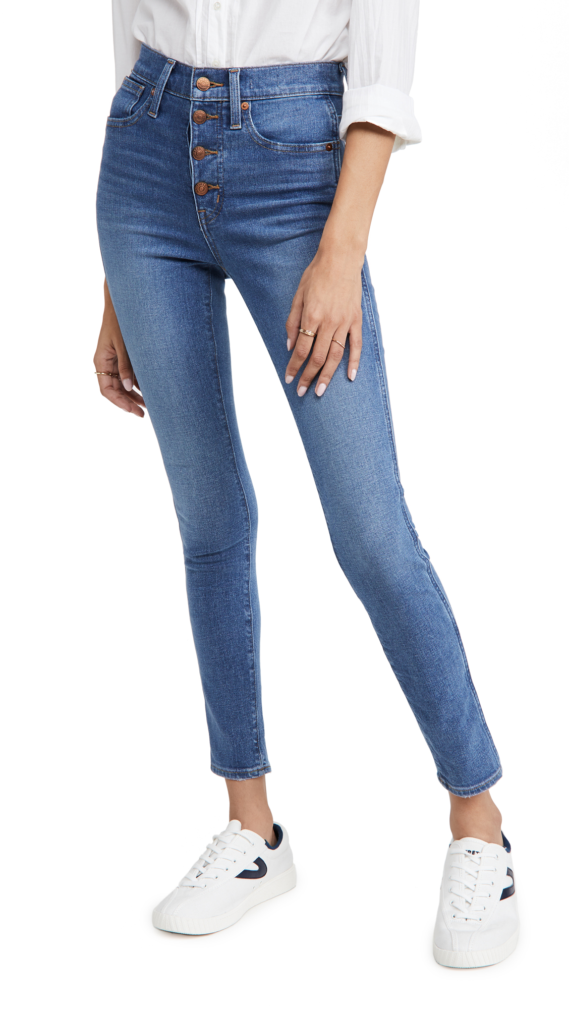 """Madewell 10"""" High Rise Skinny Button Front Jeans"""