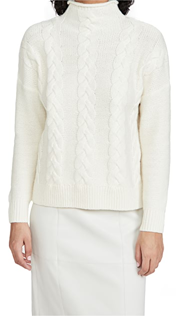 Madewell Grenville Cable Knit Mock Neck Sweater
