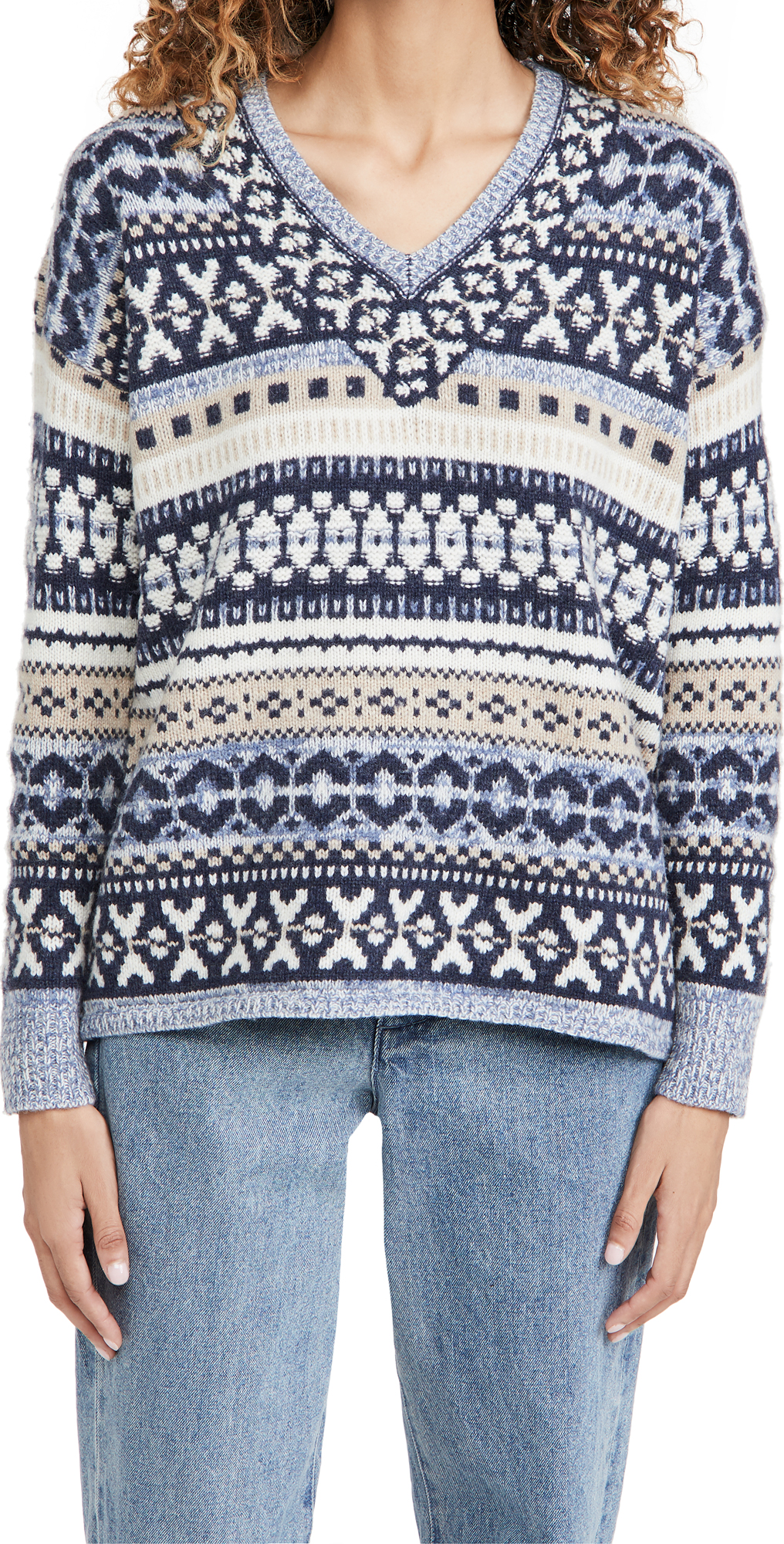 Madewell Fair Isle Dancer V Neck Pullover