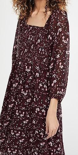 Madewell - Long Sleeve Square Neck Midi Dress