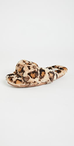 Madewell - Crisscross Furry Leopard Slippers