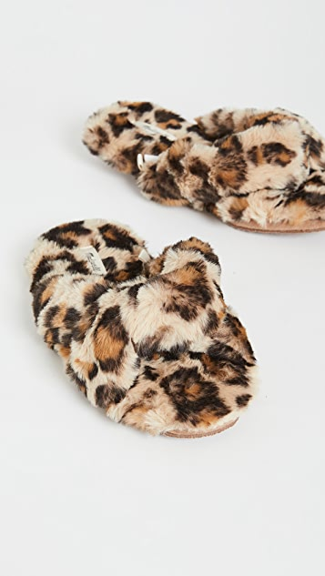 Madewell Crisscross Furry Leopard Slippers