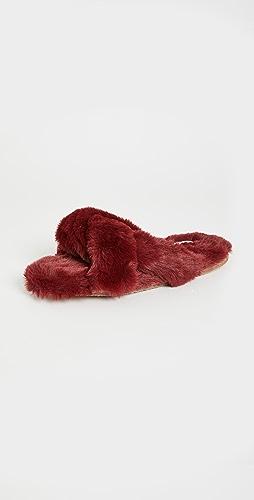 Madewell - Crisscross Furry Slippers