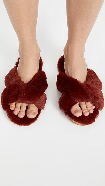 Madewell Crisscross Furry Slippers