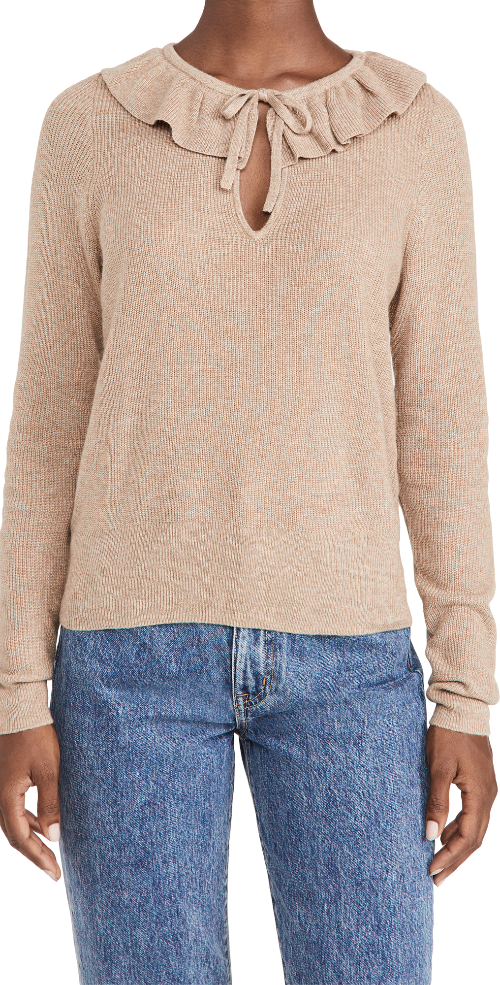 Madewell Catherine Ruffle Tie Neck Sweater