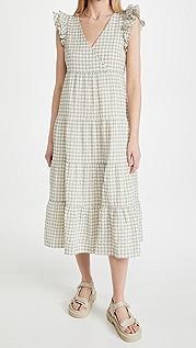 Madewell 格子褶边层褶中长连衣裙