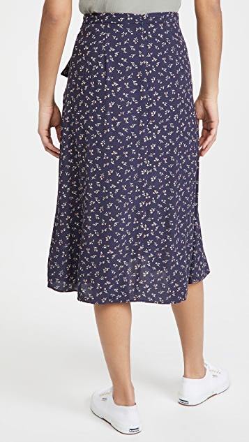 Madewell 荷叶边中长半身裙