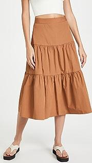Madewell 府绸层褶中长半身裙