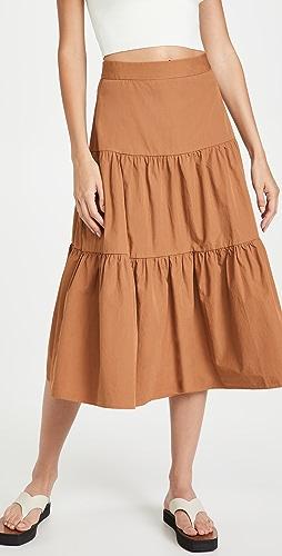 Madewell - Poplin Tiered Midi Skirt
