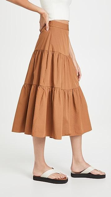 Madewell Poplin Tiered Midi Skirt