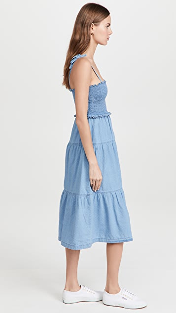 Madewell Denim Lucie Tie-Strap Smocked Midi Dress