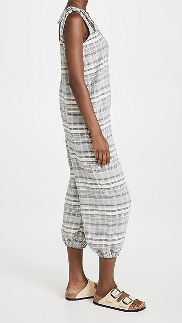 Madewell 条纹绑带灯笼罩衫连身衣