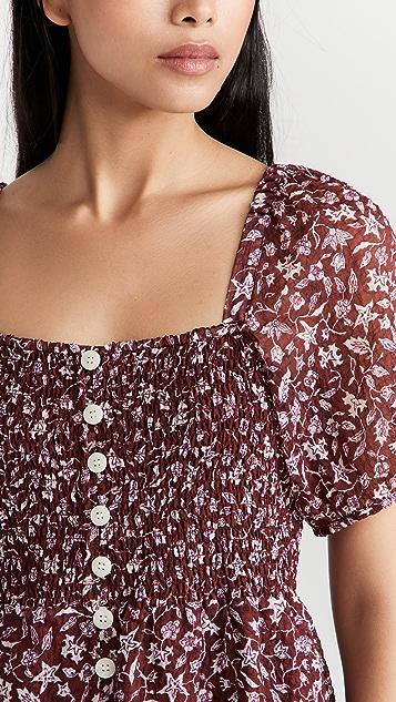 Madewell Puff Sleeve Smocked Midi Dress