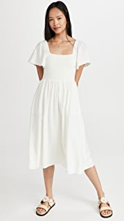 Madewell Flutter Sleeve Smocked Dress
