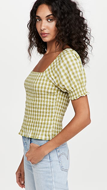 Madewell Lucie Puff-Sleeve Smocked Bodice Top