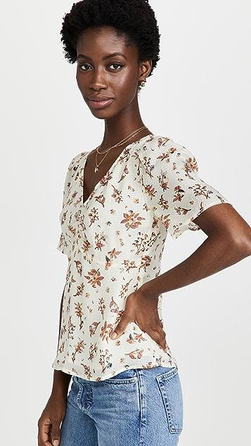 Madewell Puff Sleeve Top In Silk Gingham Print