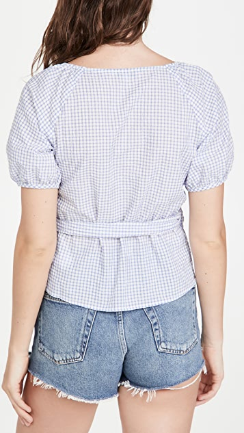 Madewell Lucy Wrap Top in Textured Gingham
