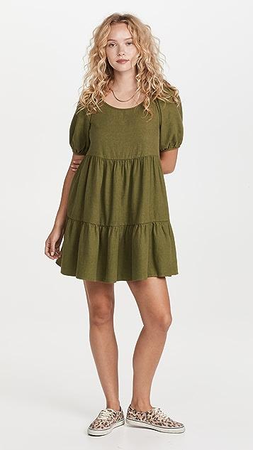 Madewell Puff Sleeve Tiered Mini Dress