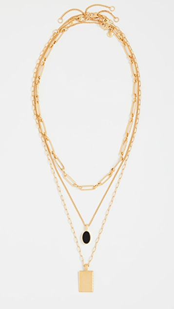 Madewell Black Onyx Layer Necklace Pack