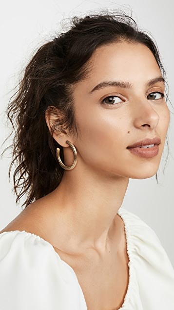 Madewell Gold Ribbed Large Hoops