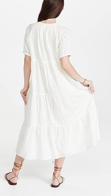 Madewell Bubble Sleeve Tiered Midi Dress