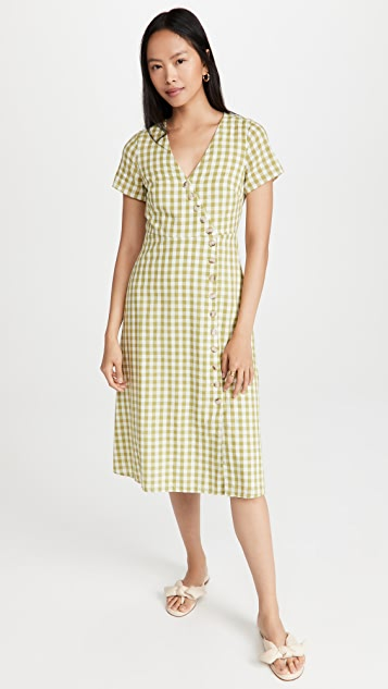 Madewell Button Wrap Midi Dress In Gingham Check