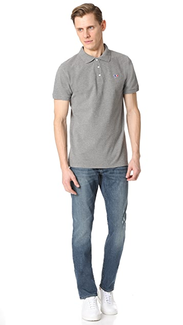 Maison Kitsune Tricolor Fox Patch Polo Shirt